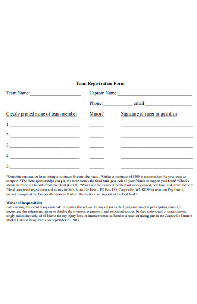 relay race registration form
