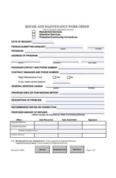 repair maintenance work order form
