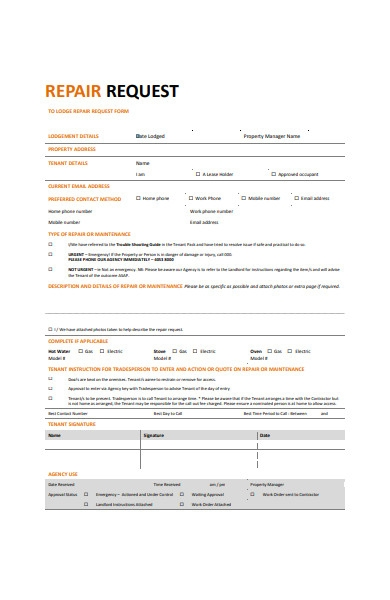 repair request work order form