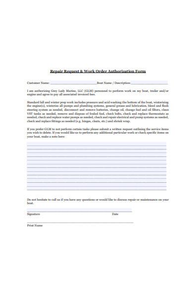 repair work order authorization form