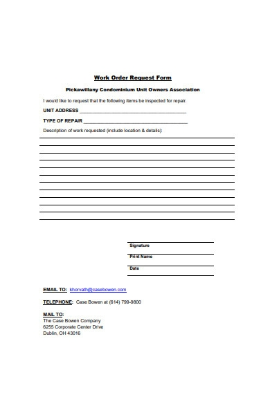 repair work order request form template
