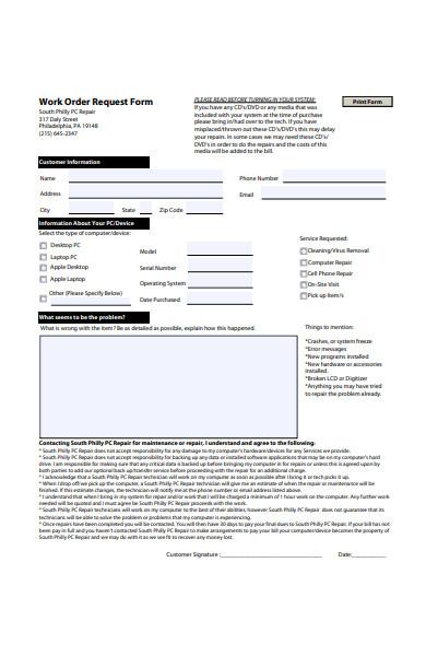 repair work order request form