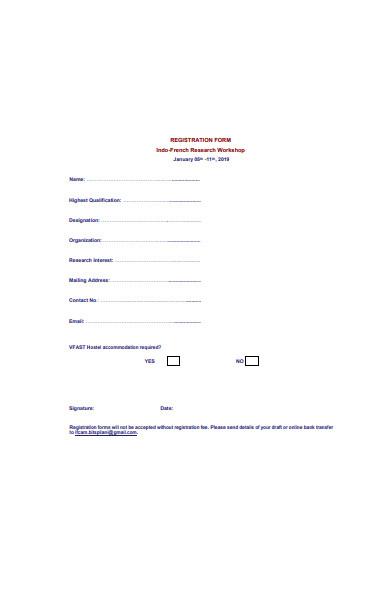 research workshop registration form
