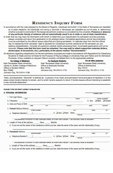 residency inquiry form
