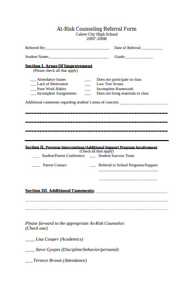 risk counseling referral form