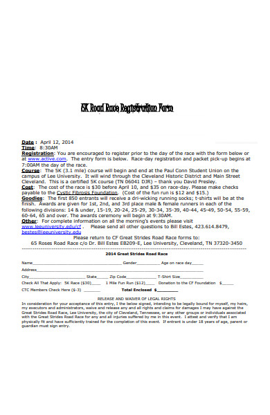 road race registration form