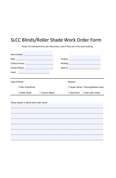 roller shade work order form