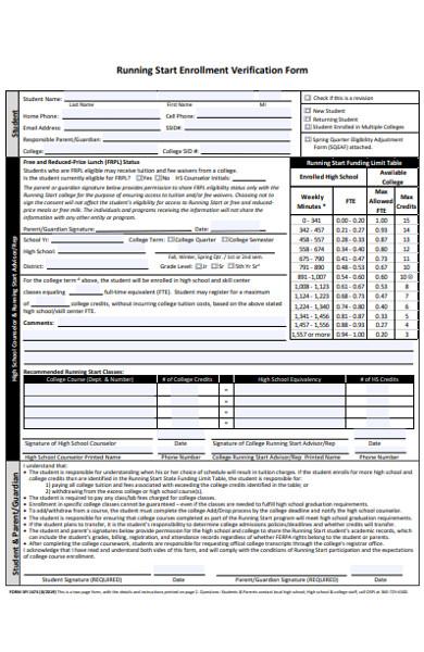 running start enrollment verification form