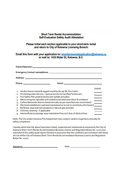 safety self evaluation form