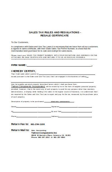 sale tax exemption form
