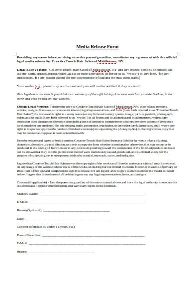 salon media release form