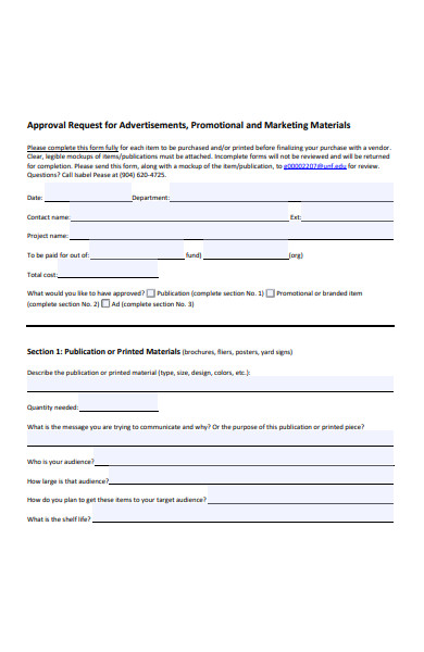 sample approval request form
