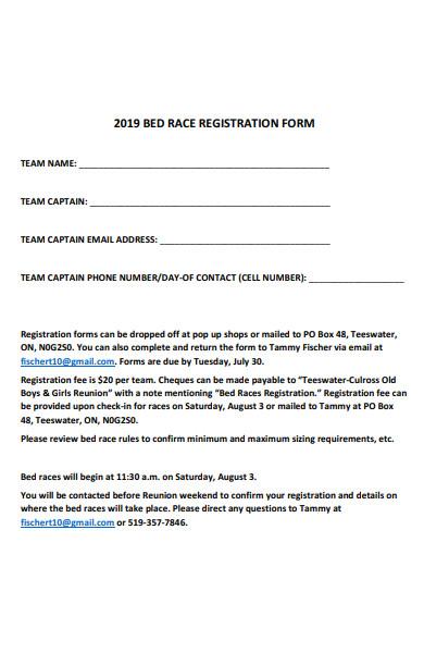 sample bed race registration form