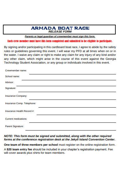 sample boat race registration form