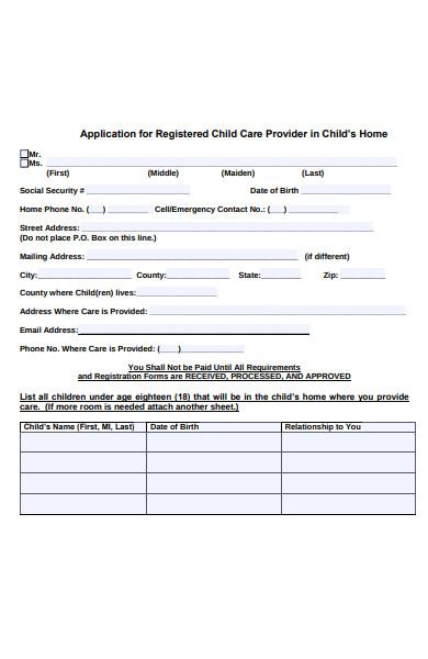 sample childcare provider registration form