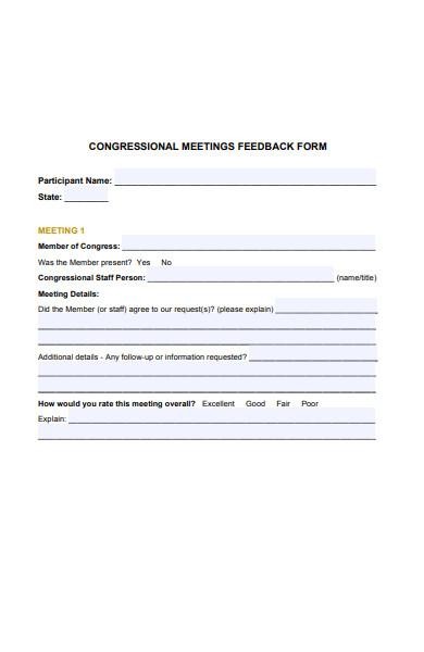 sample congressional meeting feedback form