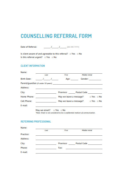sample counselling referral form