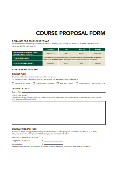 sample course proposal form