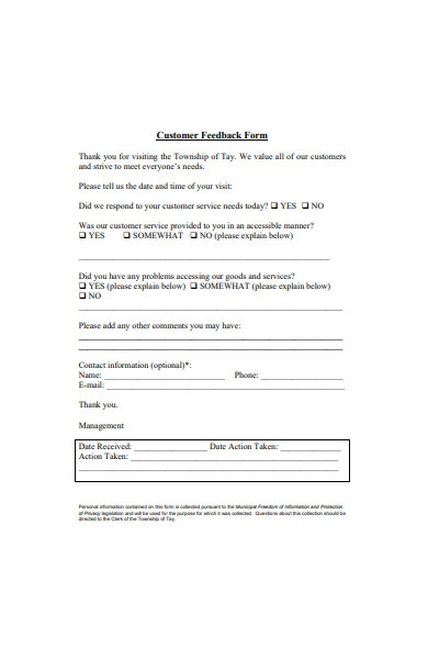 sample customer feedback form template