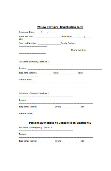 sample day care registration form
