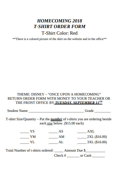 sample home coming t shirt order form