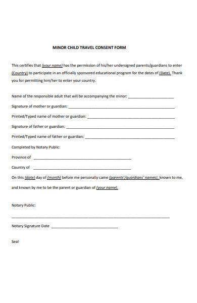 sample minor child travel consent form