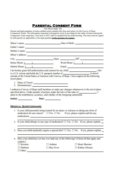 sample parental travel consent form