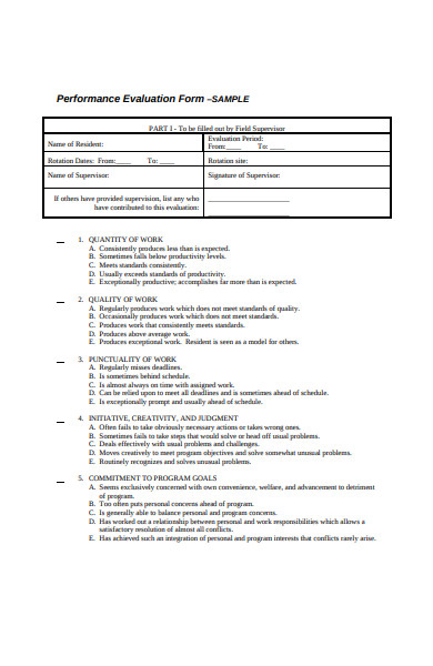 sample performance evaluation form