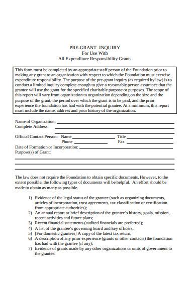 sample pre grant inquiry form