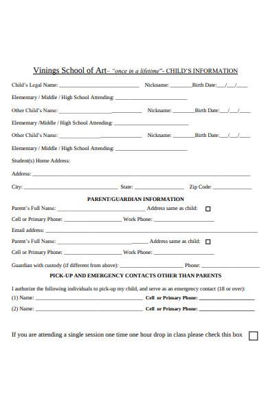 sample pre school childcare registration form