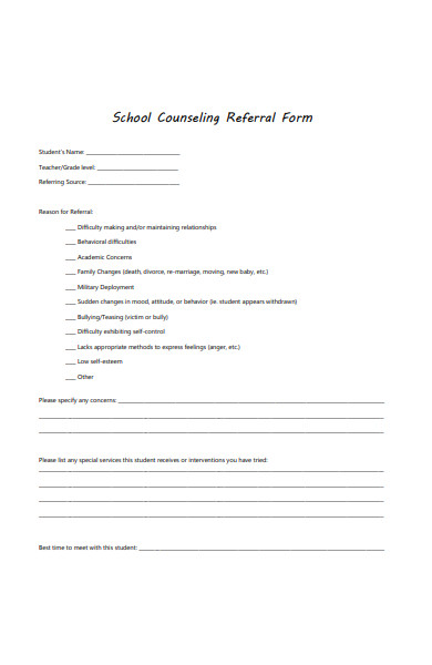 sample school counseling referral form