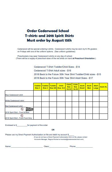sample school t shirt order form