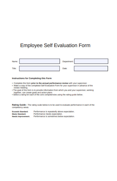 sample self evaluation form
