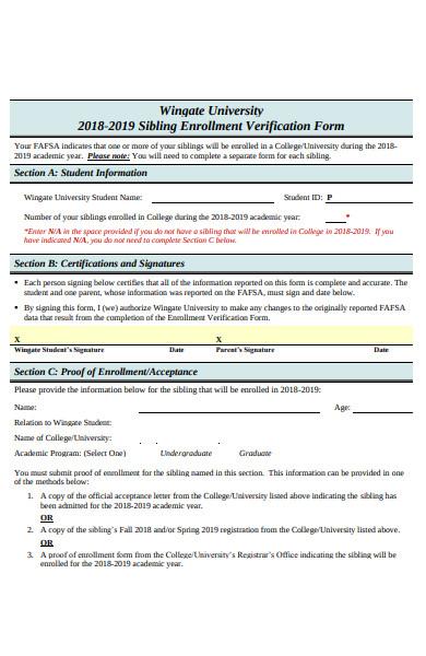 sample sibling enrollment verification form