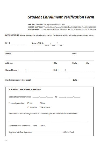 sample student enrollment verification form