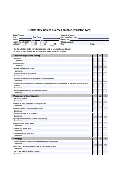 sample teacher evaluation form format
