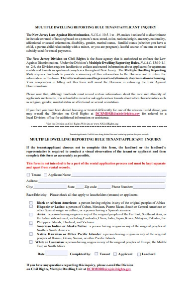 sample tenant form
