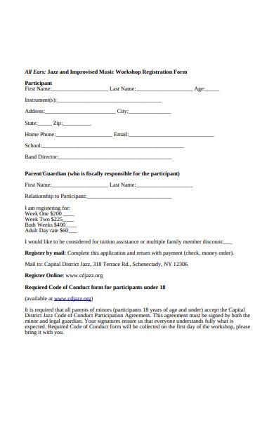 sample workshop registration forms