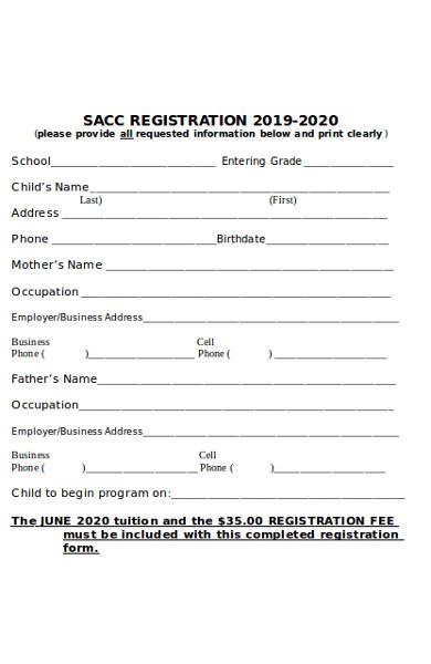 school age childcare registration form