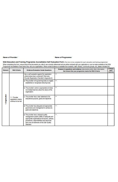school education self evaluation form