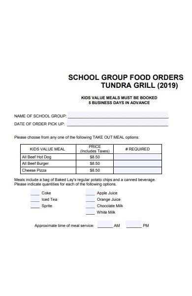school group food order form
