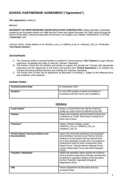 school partnership agreement form