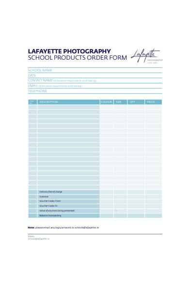 school photograph order form sample