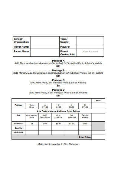 school photograph order form template
