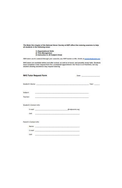 school tutor request form template