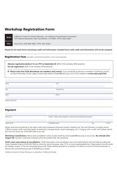 school workshop registration form