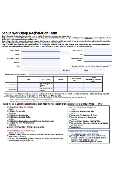 scout workshop registration form