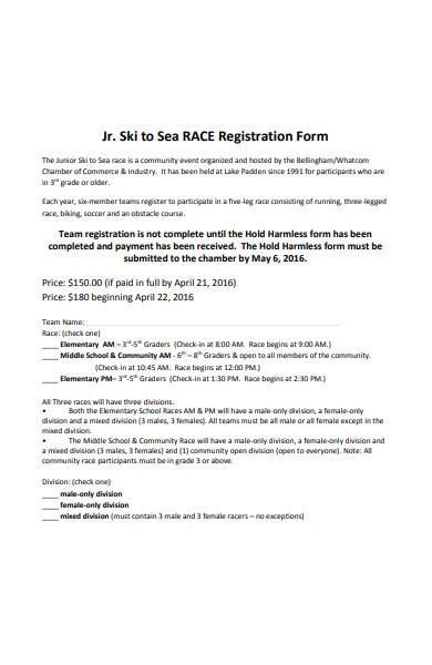 sea race registration form