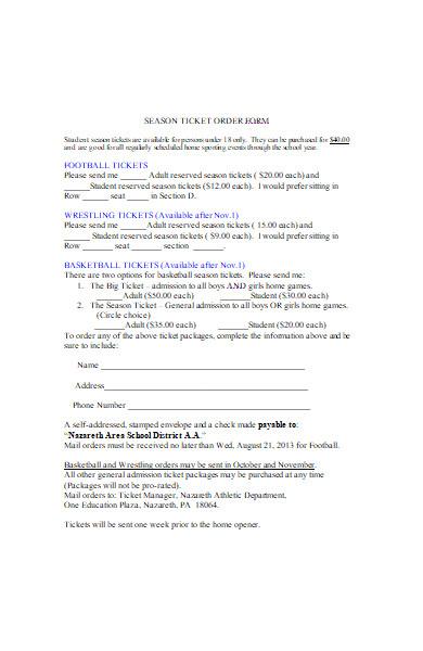 season ticket order form