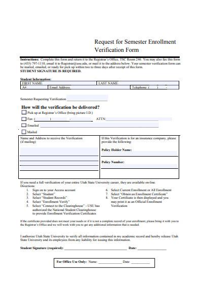 semester enrollment verification form